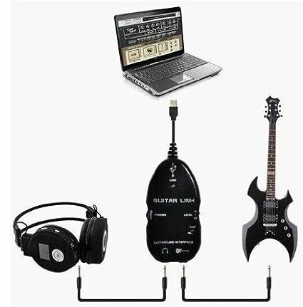Shanhai negro para guitarra a USB Interface Link Cable PC Ordenador Portátil Estudio de grabación