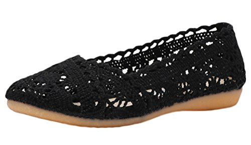 Soojun Women's Soft Breathable Hollow Out Crochet Flats, US 8, Black by Soojun (Image #5)