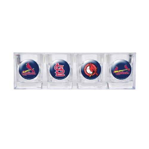 MLB St. Louis Cardinals Four Piece Square Shot Glass Set (Individual Logos)