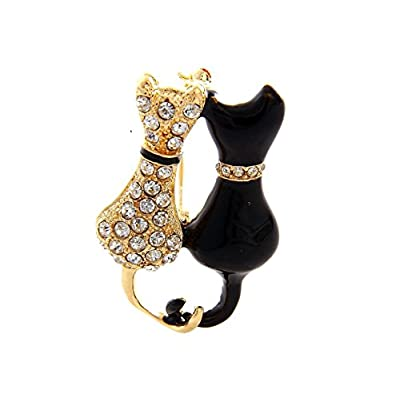 Nice Goldtone Rhinestone Cat Pave Pin & Brooch supplier