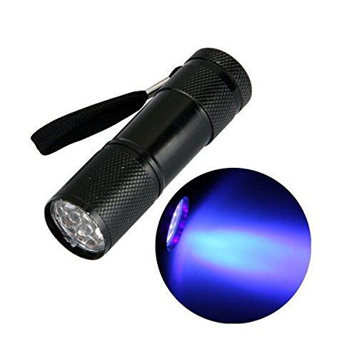 Aluminium UV Ultra Violet 9 LED Blacklight Flashlight Torch Light Lamp 3 AAA
