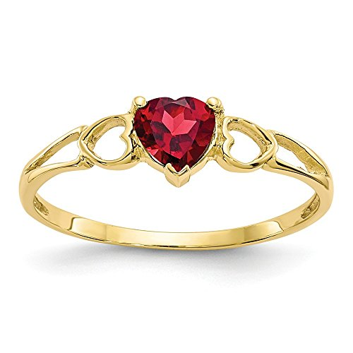 10k Yellow Gold Red Garnet Birthstone Band Ring Size 6.00 Stone January Fine Jewelry Gifts For Women For Her - 14k Garnet Gold Natural Ring