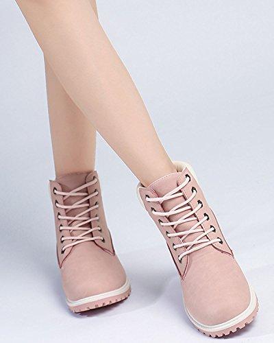Bottines Air Pink De À Femme Minetom Neige Plein Chaussures Hiver En Randonnée Lacets Plateforme dZOBnWH