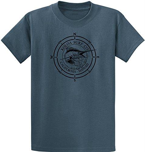 Koloa Surf Black Marlin Logo Heavyweight Cotton T-Shirt-Steelblue/b-XL