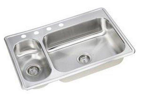 Elkay DEMR233220 22 Gauge Stainless Steel Double Bowl Top Mount Kitchen Sink, 33 x 22 x 6.5'