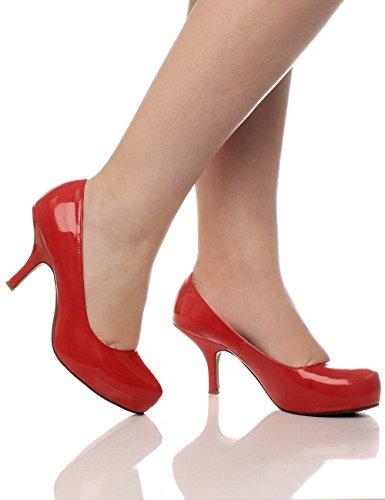 Rot Absatz Arbeit Pumps Schuhe Lackleder Mittel Plateau Fesch Kleiner Versteckte Größe Damen fEwq8PXP