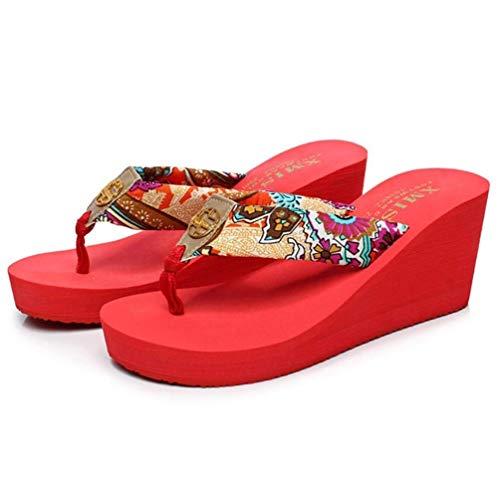 De coloré À Compensées Pour Boucles Sandales Café Femmes Pantoufles 34 Rouge Taille Oudan Plage zw5qH0C