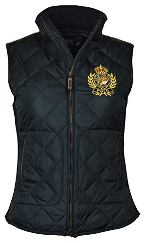 Polo Ralph Lauren Women's Leather Trimmed Quilted Crest Logo Vest - L - Black
