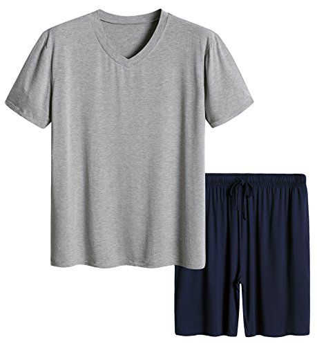 Latuza Men's Short Sleeves and Shorts Pajama Set S Light Gray & - Sweater Drawstring Wool