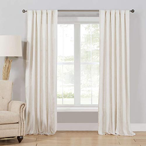 (Home Maison Newbury Linen Striped Window Curtain 2 Panel Drape Set, 40 x 108, Beige)