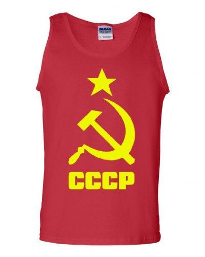 (City Shirts CCCP Soviet Union Russia USSR Hammer Sickle Adult Tank Top (Medium,)