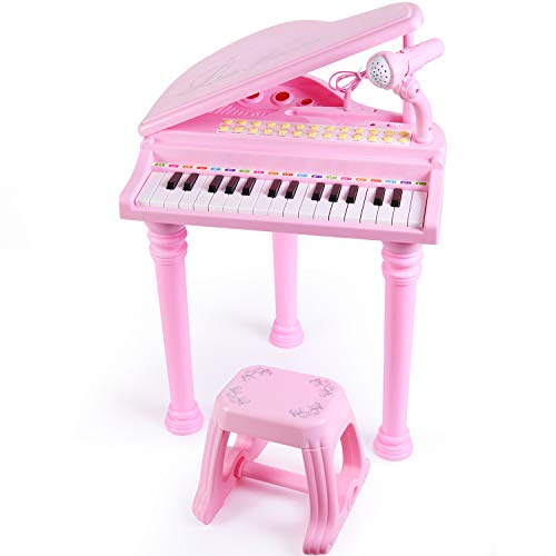 Instrument Player Set (SGILE 31 Keys Musical Piano Toy with Microphone and Stool, Learn-to-Play for Girl Toddlers Kids Singing Music Development, Audio Link with Mobile MP3 IPad PC,Pink)