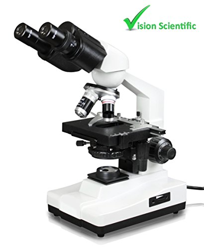 - Vision Scientific VME0007B-100-LD Binocular Compound Microscope, 10x WF Eyepieces, 40x—1000x Magnification, LED Illumination, Coaxial Coarse & Fine Focus, 1.25 N.A. Abbe Condenser
