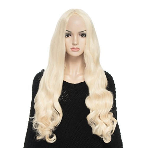 [YOPO Wig, Long Curly Light Blonde Wigs for Women, Free Wig Cap & Bobby Pins, 32'' Cosplay Wig, Central Parting Wig(Light] (Full Bobby Light Costume)