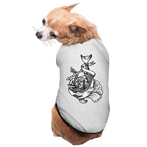 WUGOU Dog Cat Pet Shirt Clothes Puppy Vest Soft Thin Dark Anchor Shark 3 Sizes 4 Colors Available ()