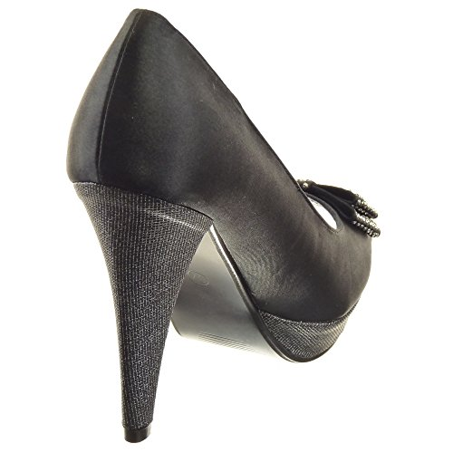 Sopily - Zapatillas de Moda Tacón escarpín Zapatillas de plataforma Tobillo mujer brillantes strass Talón Tacón ancho alto 11.5 CM - Negro