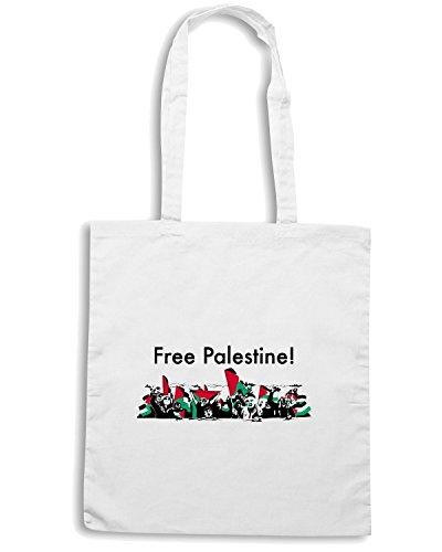 T-Shirtshock - Borsa Shopping TM0553 Free Palestine palestina libera Bianco