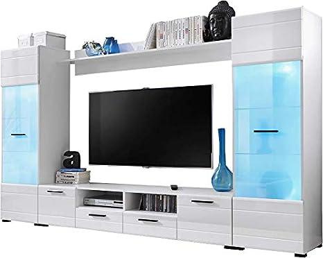 Juego de muebles Voguish para la sala de estar, independiente, alto, con armario y estantería de pared, para la televisión, con luces LED de 15 colores: Amazon.es: Bebé