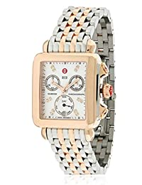 Michele Women's Two Tone Steel Bracelet Gold Tone Steel Bracelet Swiss Quartz MOP Dial Watch MWW06P000234