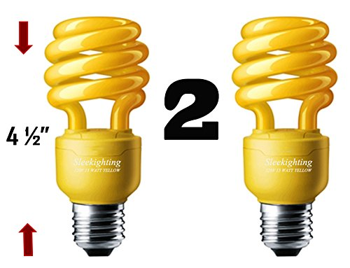 SleekLighting 13 Watt Yellow Bug Light Spiral CFL Light Bulb 120Volt, E26 Medium Base. (Pack of 2) - Yellow Bug Light Bulb