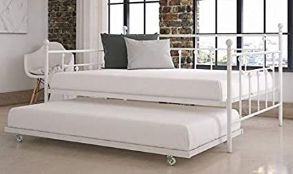 Amazon.com: Daybed Frame Twin - White Metal with Trundle ...