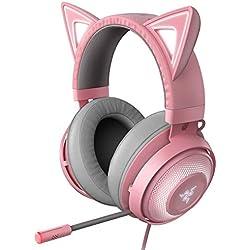 Razer Kraken Kitty RGB USB Gaming Headset: THX 7.1 Spatial Surround Sound - Chroma RGB Lighting - Retractable Active Noise Cancelling Mic - Lightweight Aluminum Frame - For PC - Quartz Pink