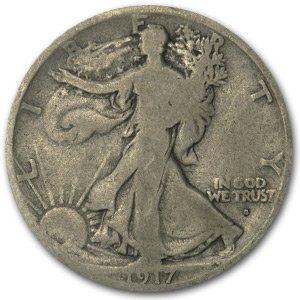 1917 S Obverse Walking Liberty Half Dollar VG Half Dollar Very Good