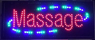 "LED Neon Open Massage Sign with Animation and Power (On/Off) Two Switch and Chain 13"" X 32"""