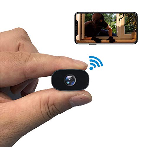 PNZEO Mini Hidden Camera 1080P HD Tiny IP Camera Video Recorder 140° Wide-View-Angle Wireless WiFi Spy Camera Security Camera Remote View Motion Detection ()