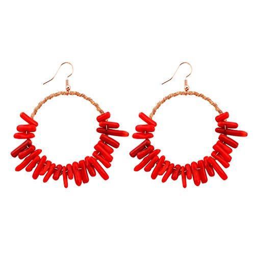 - Psunrise Pendientes Bohemian Simple Hollow Out Style Wood Bamboo Round Rattan Geometric Round Earrings Ladies Jewelry