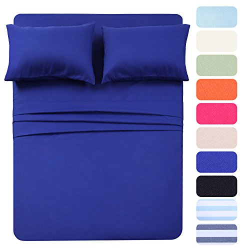 4 Piece Bed Sheet Set (Twin,Royal Blue) 1 Flat Sheet,1 Fitted Sheet and 2 Pillow Cases,Super Soft Brushed Microfiber 1800 Luxury Bedding,Deep Pockets &Wrinkle,Fade Resistant by Homelike Collection