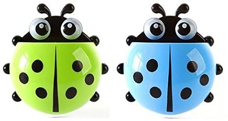 2pcs Lindo dibujos animados Ladybug niños cepillo de dientes soporte de pared ventosa dispensador de pasta