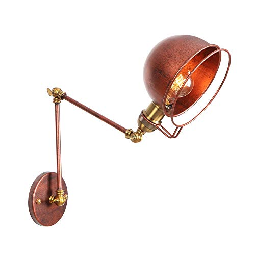 Wall Sconce with Dome Metal Shade - Industrial Vintage Bedside Reading Wall Light - Wall Lighting Fixture Adjustable Swing Arm - Wall Lamps Rust Color Finish - 1 Light (Size : Arm Length 30+15CM)