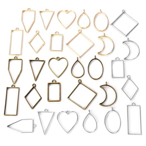 - Open Bezel Pendants Charms Resin Molds for Jewelry Findings DIY Pressed Flower Frame Assorted Geometric Hollow Trays 30pcs