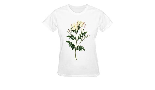 flfl peonías cuello redondo personalizada algodón camisetas para mujer color blanco: Amazon.es: Ropa y accesorios