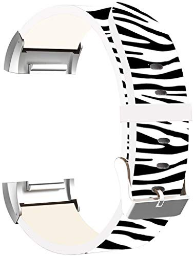 Leather Bands Replacement for Fitbit Charge 3 - Strap Compatible for Fitbit Charge 3 SE Small & Large Silver Women Men - Zebra Pattern