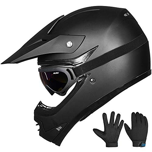 ILM Youth Kids ATV Motocross Dirt Bike Motorcycle BMX Downhill Off-Road MTB Mountain Bike Helmet DOT Approved (Youth-XL, Matte Black) (Dirt Bike Helmets Youth)