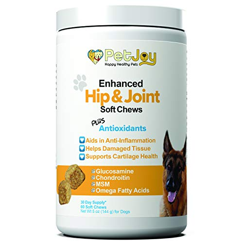 PetJoy Complete Hip and Joint Care Health Daily Soft Chews Key Ingredients Glucosamine HCI, MSM, Chondroitin Sulfate to Repair and Restore Hip and Joint Tissue from PetJoy