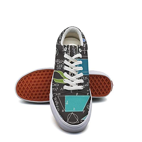 fvnoui LadyMath Equations Black Backdrop Canvas Shoes Low-Cut Straps Funky Sneakers Suitable for Walking