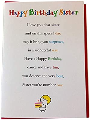 Feliz cumpleaños hermana - Cute Happy tarjetas de cumpleaños ...