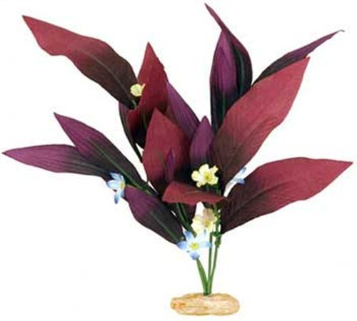 (Vibran-Sea African Sword Silk-Style Aquarium Plant, Large 13-14 tall, Plum)