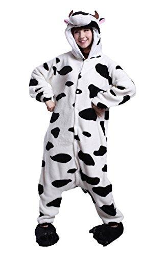 Honeystore Halloween Costumes Animal Onesie Adults Cattle Pajamas Cosplay L ()