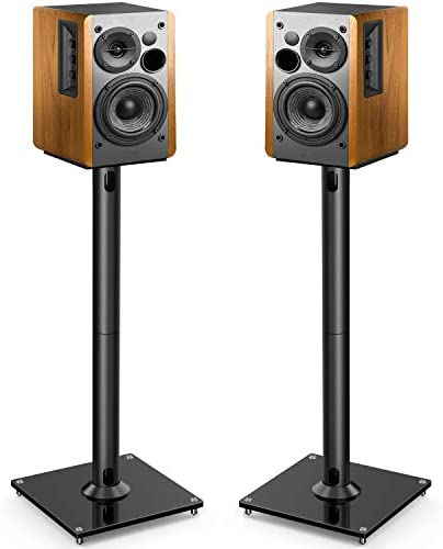 PERLESMITH Universal Floor Speaker Stands 26 Inch for Surround Sound, Klipsch, Sony, Edifier, Yamaha, Polk & Other Bookshelf Speakers Weight as much as 22lbs - 1 Pair