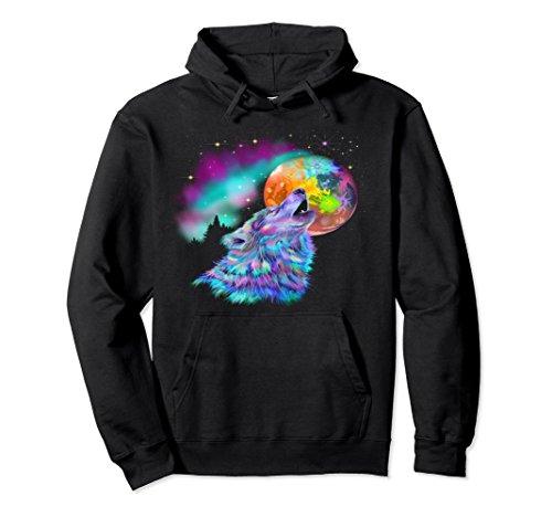 Rainbow Adult Sweatshirt (Unisex Colorful Rainbow Howling Wolf Pullover Hoodie Medium Black)