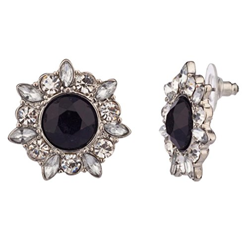 Lux Accessories Crystal Pave Black Stone Flower Sun Star Stud Earrings (Vintage Glamour Costumes)