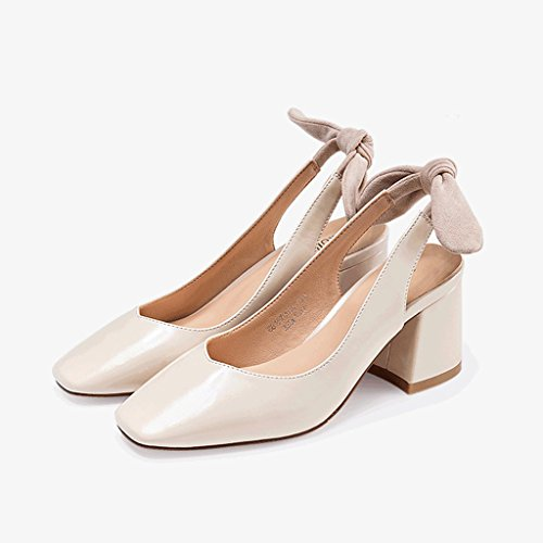 34 Color Heel Rough Beige Heels color Sandals Square Summer Toe Women's Fashion Elegant High Size Cream 1vqOOB