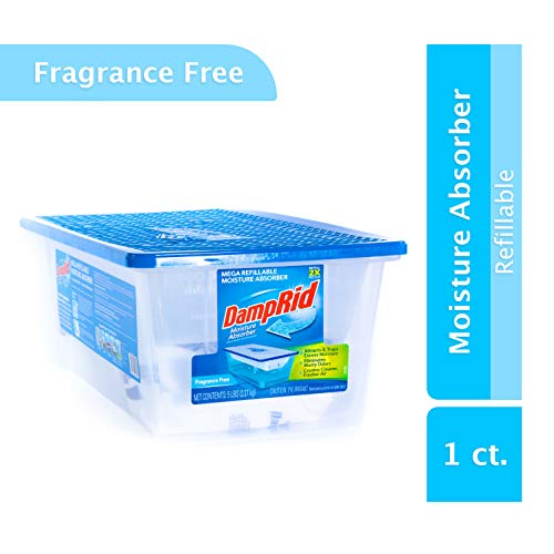DampRid Refillable Mega Moisture Absorber Fragrance Free; 5 LB Refillable Container Effectively Absorbs and Removes Excess Moisture, Eliminating Musty Odors and Creating Fresher, Cleaner Air
