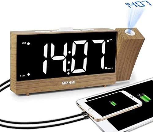MIZHMI Radio Despertador Digital Proyector FM Radio Reloj ...