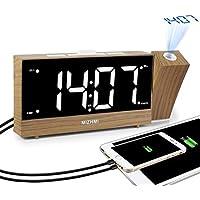 MIZHMI réveil, projection réveil, réveil numérique, radio réveil, réveille numérique LED Affichage Deux ports de charge USB peuvent être ajustés angle projecteur reveil plafond