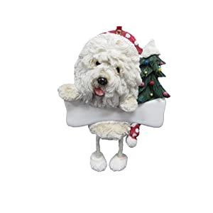 """Old English Sheepdog Ornament with Unique """"Dangling Legs"""" Hand Painted and Easily Personalized Christmas Ornament 18"""